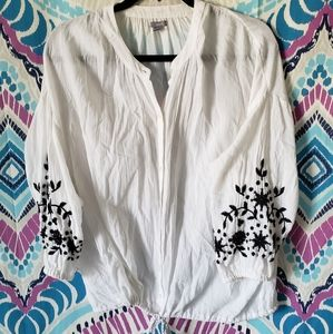 Aerie White Embroirdered Button Up Top